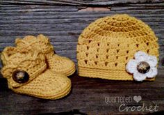Quartered Heart Crochet: Two New FREE Crochet Patterns for wrap around booties and a sweet flowery beanie!!