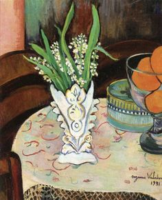Suzanne Valadon: Bouquet of Lilly of the Valley in a Vase (1931) via The Athenaeum