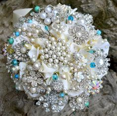 Deposit on Tiffany blue heirloom jeweled posy--made to order