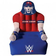 """Kids can enjoy watching their favourite WWE Stars from the comfort of their own John Cena inflatable chair. It'll make them feel like they are sitting ringside. Made from PVC plastics and paper Inflates in about 15 minutes 24"""" w. x 24"""" d. x 28"""" h. Ages 4 years and"""