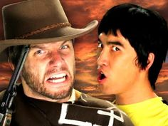 Bruce Lee vs Clint Eastwood.  Epic Rap Battles of History Season 2. (*rolls on floor laughing raspily* so.... funny....)