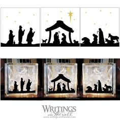 Christmas Nativity Silhouette - 3 Block Set Vinyl - Writings on . Church Christmas Decorations, Christmas Lights, Christmas Time, Christmas Bells, Christmas Blocks, Christmas Nativity, Diy Nativity, Nativity Scenes, Nativity Silhouette