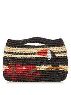 Sensi Studio Tucan hand-painted straw mini handbag