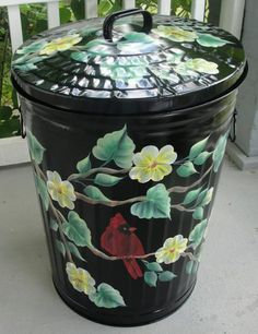 Hand Painted Dogwood and Cardinal Metal Trash Can