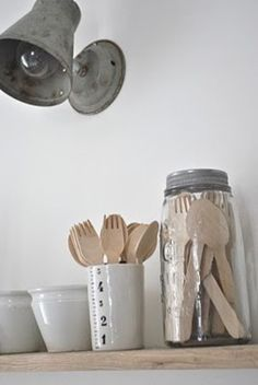 Perfect way to store wood utensil at the cabin (keep them clean)