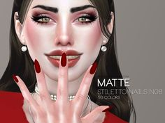 Matte stiletto shaped nails for your ladies, 40 solid colors + 10 double colored designs.  Found in TSR Category 'Sims 4 Female Rings'