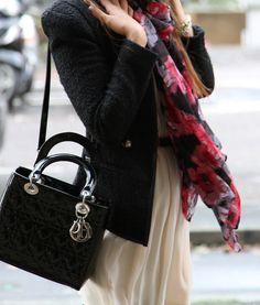 White dress + black purse + floral scarf