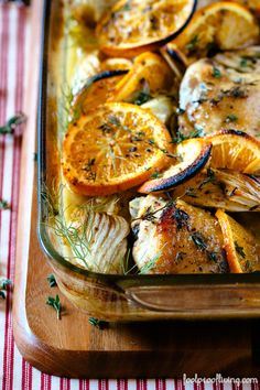 Oven-Roasted Orange Chicken - Recipe for oven-roasted chicken with fresh, citrus fruits is easy to prepare and a perfect pair.   Swanky Recipes