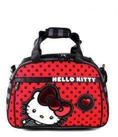 Hello Kitty Sanrio Red Black Dots Big Bow Weekender Travel Bag Purse  Loungefly e4965076bcdce