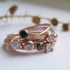 stacking rose gold black and diamond rings