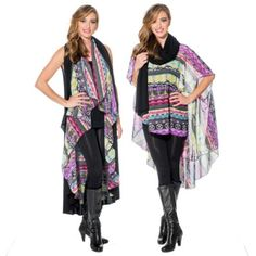 This bold print shawl looks amazing when worn as a poncho or scarf and paired with a long black shawl.