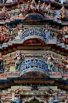 Exquisite carvings and relief work at an ancient Hindu temple in the South India