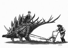 Kentrosaurus is both a fun ride and perfect for plowing the fields… Dinosauri Dinosaurs Fantasy Art Arte Dinosaur Drawing, Dinosaur Art, Jurassic World, Prehistoric Creatures, Prehistory, Creature Design, T Rex, Fantasy Creatures, Animal Drawings