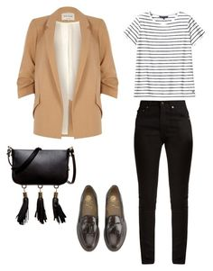 """""""Beige blazer casual"""" by subbotemy on Polyvore featuring River Island, Yves Saint Laurent and Luana"""