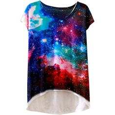 Womens Short Sleeve Crew Neck Galaxy Printed High Low T-shirt Blue ($6.39) ❤ liked on Polyvore featuring tops, t-shirts, blue, crew neck t shirt, blue top, blue tee, blue t shirt and short sleeve tops
