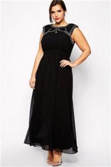 A-Line/Princess Jewel Floor-length Chiffon Plus Size Evening Dress