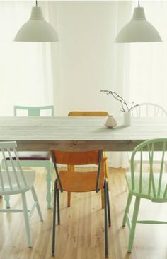 mix and match Danish chairs