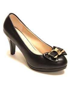 Look what I found on #zulily! Black Bow Pump by Odell #zulilyfinds