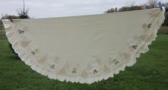 Off white cotton round tablecloth embroidered embellishments large ruffle