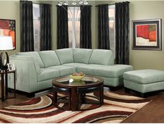 Oakdale 2-Piece Microsuede Sectional w/Right-Facing Chaise - Aqua   The Brick