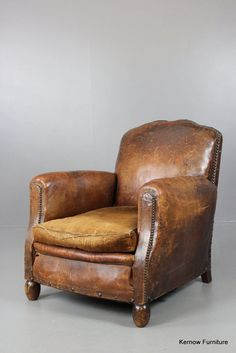 Pair Of New French Leather Club Chairs With Ottoman | Leather Club Chairs,  Ottomans And Modern