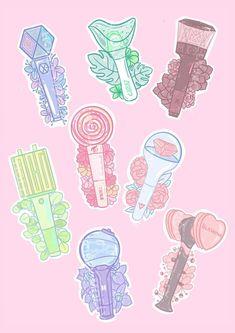 Lightstick stickers from different KPOP groups. Watermark not included in the final print. Pop Stickers, Printable Stickers, Kpop Logos, Cute Animal Drawings Kawaii, Fandom Kpop, Kpop Drawings, Journal Stickers, Logo Sticker, Kpop Fanart