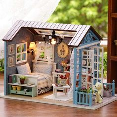 Kits DIY Wood Dollhouse miniature with LED+Furniture Doll house room Gifts Pro
