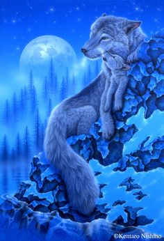 Moonlight Wolves 1000 Piece Ravensburger Jigsaw Puzzle alpha female wolf and her young cub perched atop a snowy ledge by popular Japanese artist Kentaro Nishino Beautiful Wolves, Animals Beautiful, Cute Animals, Wolf Spirit, Spirit Animal, Fantasy Wolf, Fantasy Art, Tier Wolf, Pomes