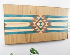 Wooden Wall Art reclaimed wood wall art, painted diamond, santa fe style, kilim