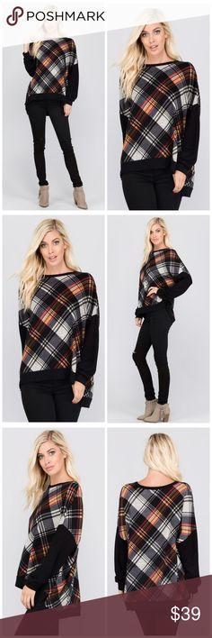 NEW SIZES! Gorgeous and Soft Tartan Tunic! ***PLAID LONG DOLMAN SLEEVES HIGH LOW TUNIC TOP WITH SOLID CONTRAST      SELF : 96% POLYESTER 4% SPANDEX CONT : 64% RAYON 32% POLYESTER 4% SPANDEX MADE IN USA Tops Tunics