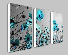 Teal Flowers Floral Spli... #prints #prntable #painting #canvas #empireprints #teepeat