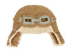 Little Aviator Tan Crochet Beanie