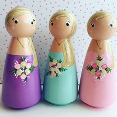Blonde Bridesmaid peg doll collection