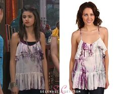 """In the Wizards of Waverly Place episode """"My Two Harpers"""" Selena's character Alex Russo sported this Free People Tye Dye Beauty Top."""