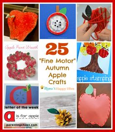 This is a collection of 25 fine motor autumn apple crafts for kids of all ages to enjoy! Plus, an amazing FALL $500 paypal cash GIVEAWAY till Sept. 25, 2015. Please come enter for your chance to win! - www.mamashappyhive.com