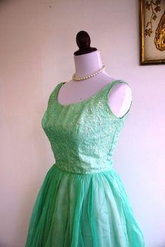 Vintage 1950s Mint Green Party Dress