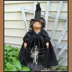 Folk Art Halloween Caged Skeleton by LucysLazyDayzFolkArt