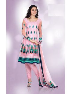 Mistyrose Faux GeorgetteNet LaceMultiReshamStones Knee Length Salwar Suit, comes with dashing dupatta.This designer saree covered with Lace,Multi,Resham,Stones. With a unique combination of  Mistyrose color. Its give you look like ferry