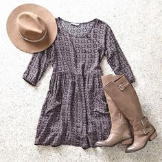 Channel your inner boho babe this Friday in our Don't Ask Why Pocket Shift Dress, @shopdolcevita Cambridge Boot and Lack Of Color Black Out Short Brim Hat.