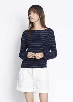 Cashmere Striped Boat Neck for Women | Vince