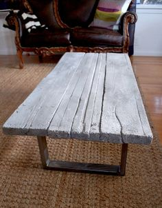 Reclaimed wood cast concrete coffee table by smithconcretedesign - awesome!