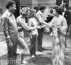 The Queen and the Duke of Edinburgh meet the cast of The Good Life at the BBC TV studios in Shepherds Bush cm) Fine Art Print Framed, Poster, Canvas Prints, Puzzles, Photo Gifts and Wall Art Richard Briers, Penelope Keith, Felicity Kendal, Commonwealth Games, Bbc Tv, British Comedy, Elisabeth, Comedy Tv, Queen