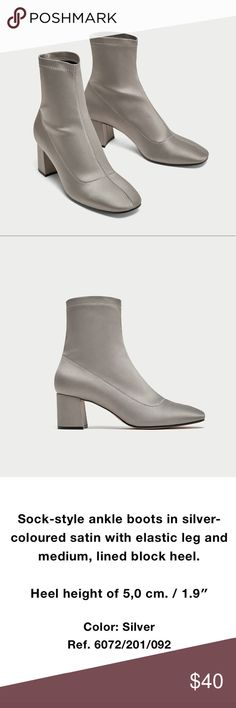 NWT Zara silver light grey ankle boots NWT Zara silver light grey ankle boots . Size: 6.5. Brand new. Zara Shoes Ankle Boots & Booties