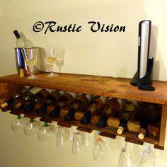 Wine Bottle Rack Glass Rack Wood Shelf Mini Bar by RusticVision, $100.00