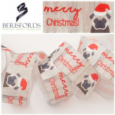 Meet Santa Paws the Pug and wish other dog lovers a Merry Christmas with this Berisfords Christmas Ribbon. Priced Per Metre Christmas Ribbon, Merry Christmas, Meet Santa, Dog Silhouette, Christen, Santa Hat, Grosgrain Ribbon, Pugs, Dog Lovers