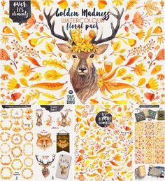Golden madness watercolor illustrations set