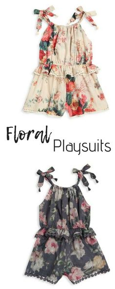 Charming floral print playsuit with ruffle peplum and lace trim. baby girl | clothes | summer | romper | outfits | cute | afflink - - #Uncategorized