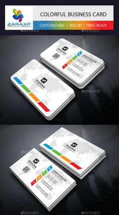 Buy Clean & Colorful Business Card by Zavad on GraphicRiver. Beauty Business Cards, Elegant Business Cards, Cool Business Cards, Business Card Design, Tutoring Flyer, Free Printable Business Cards, Poster Background Design, Bussiness Card, Home Logo