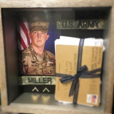 Shadow box idea, great for army wife, military spouse, milso. Use for letters from basic, BCT, bootcamp #shadowbox #basicletters #deploymentletters #bctletters #bootcampletters #armycrafts