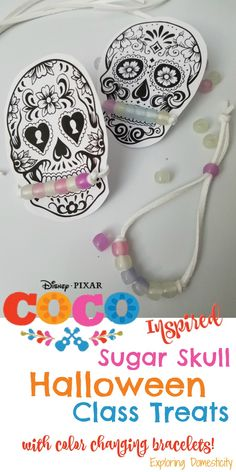 Disney Pixar Coco Inspired Sugar Skull Halloween Class Treats with color changing bracelets!